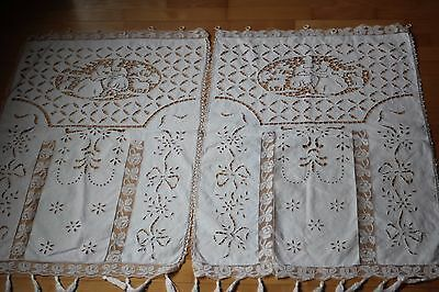 Antique French Pair Linen Curtains -Richelieu -Colbert Lace