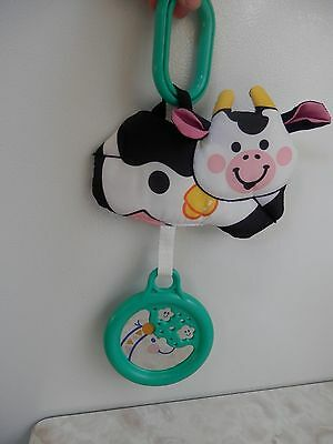 Fisher Price Cow Jumping Over Moon Mirrored Car Seat Stroller Rattle Toy 12 X 7