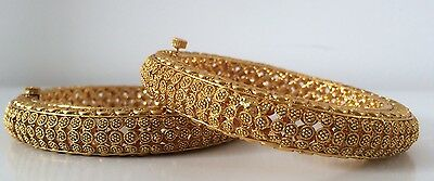 Bollywood Style/ Indian Jewellery/ Party Wear/ 2 Gold Hinge Bangals, 2.6