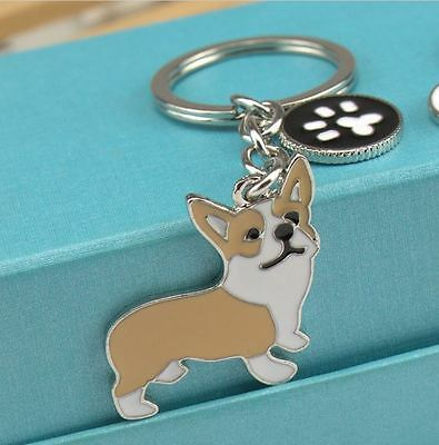 Welsh Corgi Dog Key Chain Animal Theme Charm KeyChain, Free Shipping
