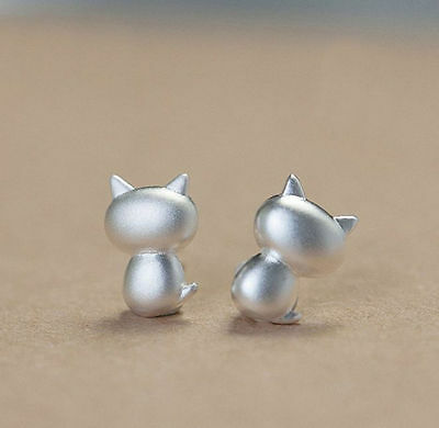 925 Sterling Silver Cute Cat Kitty Stud Earrings Ladies Jewellery Christmas Gift