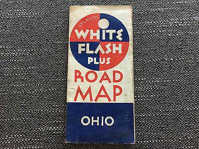 Vintage ATLANTIC WHITE FLASH PLUS Ohio Road Map MOTOR OIL 1930's