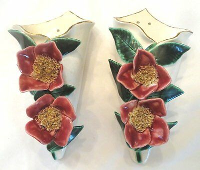 2 French Antique Majolica / Barbotine Wall Pockets  Flowers & Leaves 19th.C