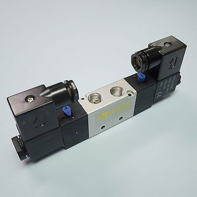 """1/4"""" Pneumatic 5/2 Way Electric Control Solenoid Valve 4V220-08 24V Double Coil"""