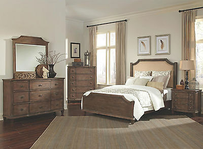 SOPHIE-5pcs Traditional Cottage Brown Queen King Panel Bedroom Set New Furniture