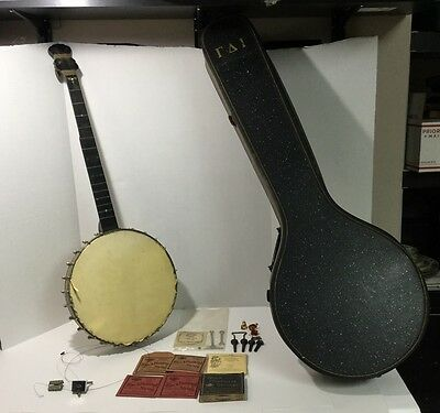 Rare Antique Luscomb Banjo Complete w/ Carrying Case & Accessories -Needs Repair