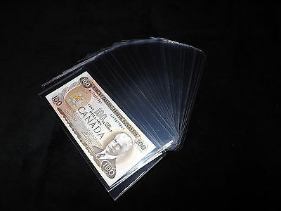 25 Medium Clear Plastic Bill Sleeves For Currency Paper Money Holder - Standard