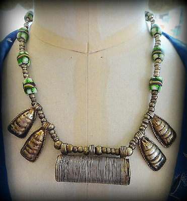 Fabulous Old North African Bedouin Trade Beads & Tribal Silver Necklace