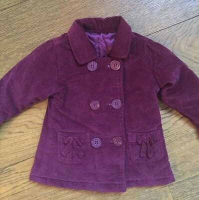 Hkrd26) Girls Matalan Purple Lined Coat AGE 3-6 Months Vgc