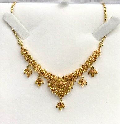14k Solid Yellow Gold Cluster Pendant Necklace/ Chain, Natural Yellow Sapphire