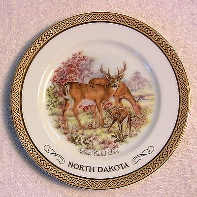 "7.5"" Vintage North Dakota White Tailed Deer Souvenir Collectors Plate"
