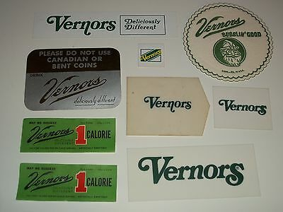 9 NOS 1960s VERNORS GINGER ALE Group 8 MACHINE LABELS+COASTER Soda Vending Sign