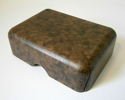 VINTAGE COLLECTABLE GREEN & BROWN MOTTLED BAKELITE TRAVEL SOAP BOX with LID