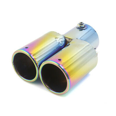 60mm Inlet Blue Double Outlets Exhaust Muffler Tail Pipe Tip Tailpipe for Car