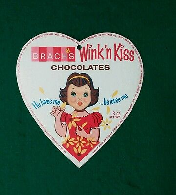 Vintage Brach's Wink 'n Kiss Chocolate Heart Box Cover Winking Girl