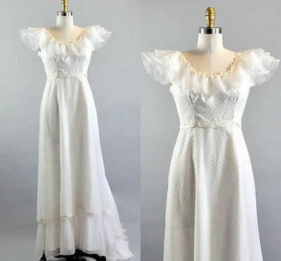 Vintage 1960s White Polka Dot Lace Chiffon Long Tail Wedding Dress. Rustic Style