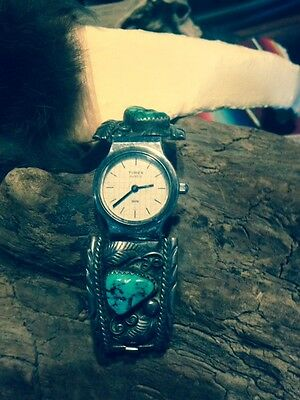 Vintage Native American  sterling silver and turquoise watch