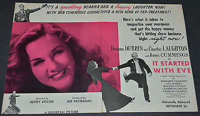 IT STARTED WITH EVE 1941 ORIGINAL 12x18 MOVIE TRADE AD! DEANNA DURBIN COMEDY!
