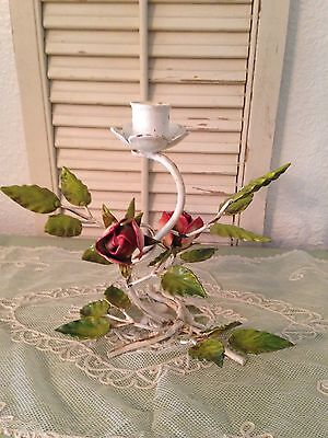 Vintage Italian Tole Candle Holder! Roses And Leaves!