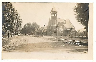 RPPC Church COVINGTON PA Vintage Tioga County Pennsylvania Real Photo Postcard