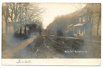 RPPC Main Street RALSTON PA Vintage Lycoming County Real Photo Postcard