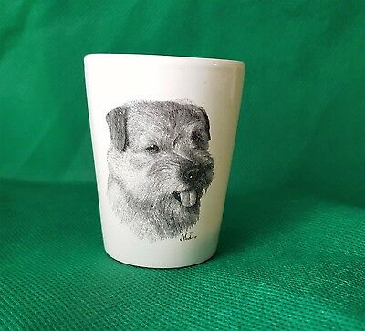 NORFOLK TERRIER Porcelain Shot Glass Swag Gift Vladimir Tzenov Rosalinde Dog