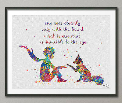 The Little Prince Quote Le Petit Prince with Fox Watercolor Painting Print Art 6