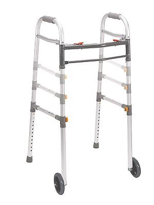 """Two Button Folding Universal Walker with 5"""" Wheels Gray"""