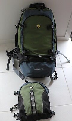 Large Travel Hiking Camping Backpack Rucksack 65L Oz Trail Discovery w Daypack