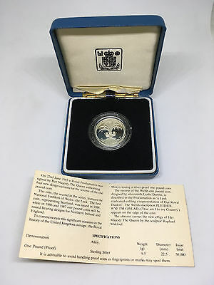 Great Britain 1985 Piedfort Welsh Leek £1 One Pound Silver Proof Coin Box Coa