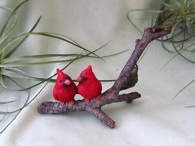 2 CARDINAL BIRDS COUPLE MINI Detailed Fairy Garden Resin Hand Painted Top Col