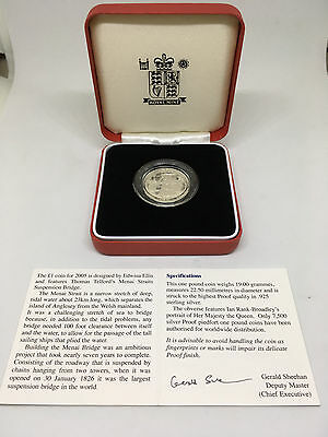 2005 Royal Mint Silver Proof £1 One Pound Coin CASE & COA