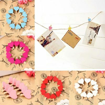 50pcs Mini Hearts Wooden Pegs Photo Clips Wedding Party Room Decor Craft Fashion