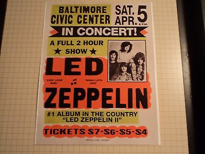 Vintage Led Zeppelin Baltimore Civic Center Reproduction Concert Poster 11 x14