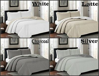 ARDOR Embossed Quilted Reversible Coverlet Bedspread Set King / Queen 250x250+2P