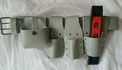 PRO white SCAFFOLD LEATHER TOOLS  BELT SET with level