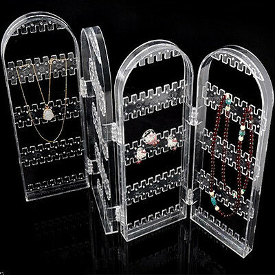 Clear Acrylic Earring Ear Studs Display Stand Holder Rack Jewellery Folded Rack