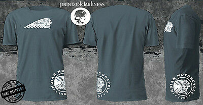 MENS BLUE T Shirt  VINTAGE INDIAN MOTORCYCLES  Double Logo Print  Free Postage