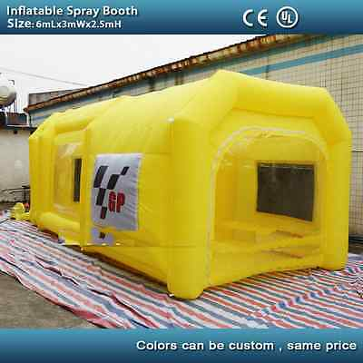 6m L x 3m W x 2.5m H yellow inflatable spray booth inflatable car paint booth