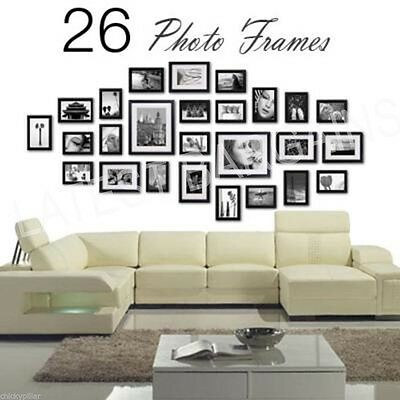 NEW 26 Piece Photo Frame Set Collage Wall Picture Frame Black Home Decor Art