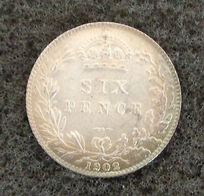 1902 6d Edward VII Silver Sixpence - UNC