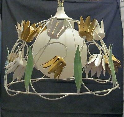 Vintage Tole Birdcage Chandelier Single Light Flowers Floral
