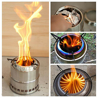 Outdoor Windproof Cooking Picnic Stainless Steel Wood Burning BBQ Camping Stove