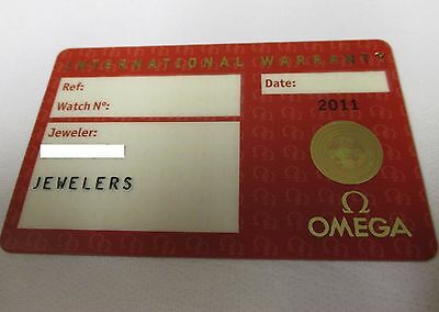 OMEGA Watch Red International Warranty Card with Dealer Name & Source Code ONLY