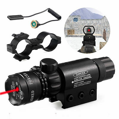 Red Dot 650nm Laser Sight Mount Scope Rail & Remote Switch For Hunting Rifle Gun
