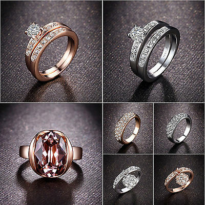 Fashion Cubic Zirconia Gold Plated Wedding Band Women Engagement Promise Ring