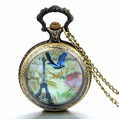 Retro French Tower Rose Bird Locket Pocket Watch Pendant Womens Chain Necklace