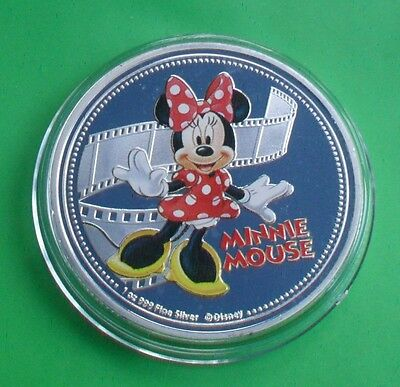 New Zealand 2015 Silver Plate Disney Minnie Mouse Coin In Capsule
