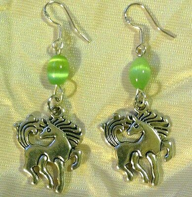 2 PAIRS PEWTER FINISH HORSE EARRINGS w/ lovely LIGHT GREEN BEAD French Hooks !!