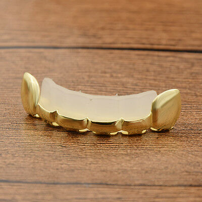 Gold Plate Grills Vampire Hip Hop Teeth Grillz Caps Top Grill 6 Tooth Single Row